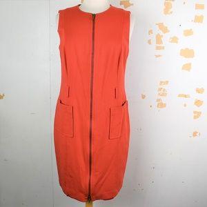 AKRIS PUNTO Full Zip Orange Knit Sheath Dress